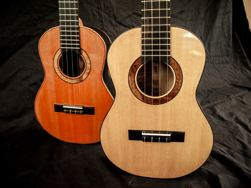 Ebony Tenor with Incense Cedar Top and Myrtle Tenor with Port Orford Cedar Top