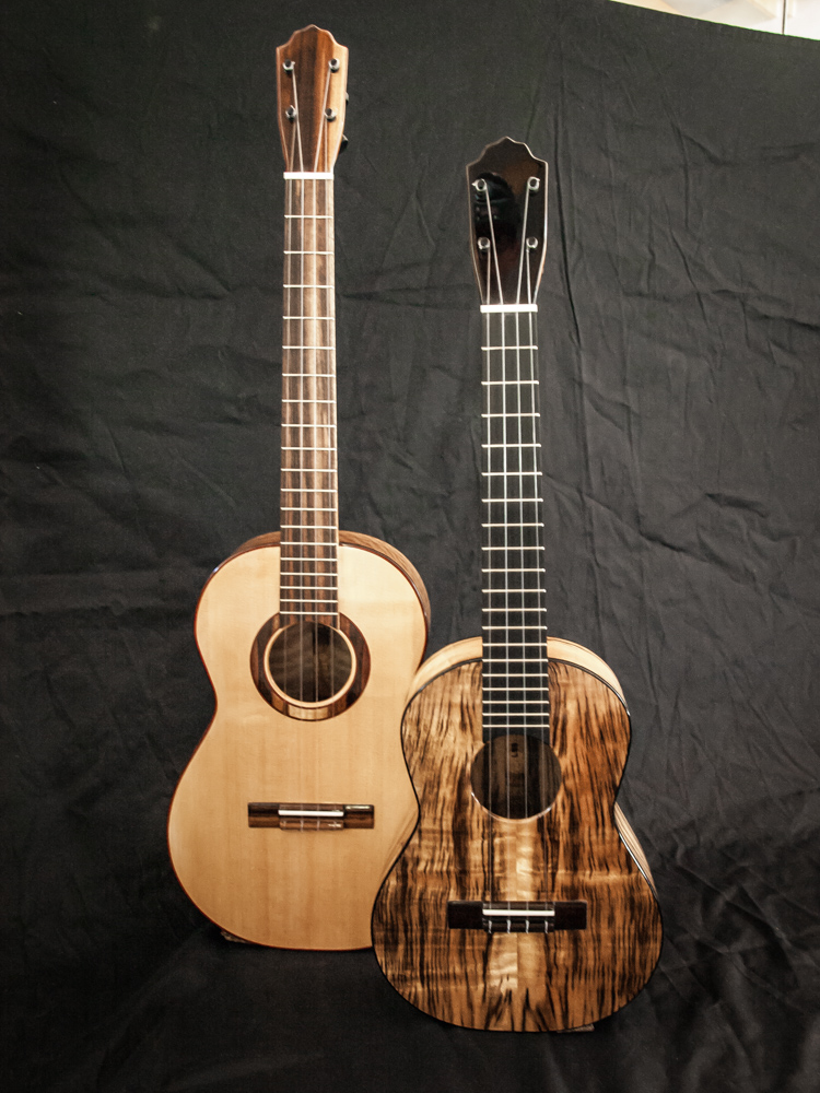 Myrtle/Port Orford Cedar Baritone, Tiger Stripe Myrtle Tenor